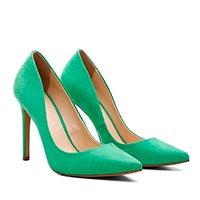 Scarpin Suede Salto Alto Bico Fino Casual Conforto Ecomshoes Feminino - Verde