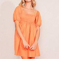 vestido com franzido curto manga bufante laranja