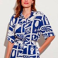 camisa longa estampada lorena blue manga curta mindset lorena moreira azul