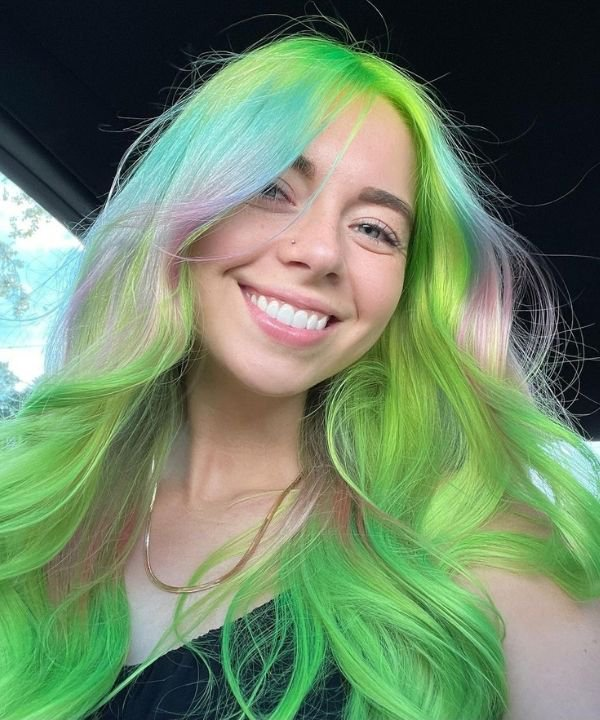 cabelo neon  - cabelo colorido  - cores neon  - mechas coloridas  - neon color hair  - https://stealthelook.com.br