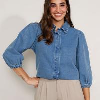 camisa jeans feminina manga bufante azul médio