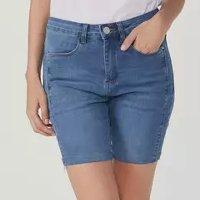 Bermuda Feminina Jeans Cintura Alta Comfort - Azul
