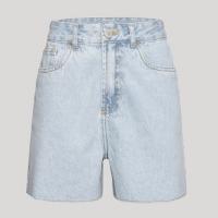 short jeans feminino mindset los angeles cintura alta azul claro marmorizado