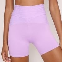bermuda ciclista texturizada esportiva ace cintura alta lilás