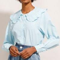 camisa listrada manga bufante gola boneca com babado mindset azul