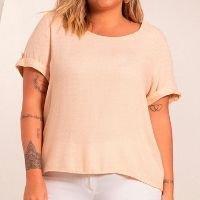 Secret Glam - Blusa Plus Size Feminina de Viscolinho Bege