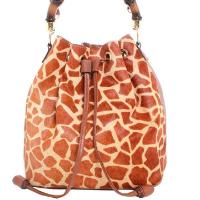 Bolsa saco camurça estampa girafa 10200158 - Caramelo