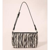 bolsa média estampada animal print zebra com pelo em couro mindset off white - único
