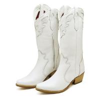 Bota Couro Texana Country Click Calçados Cano Longo Bico Fino Feminina - Branco