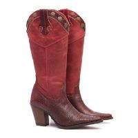 Bota Couro Elite Country Iowa Vermelha Feminina - Vermelho