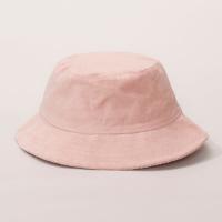bucket hat feminino de veludo cotelê rosa - único