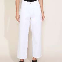 calça de sarja feminina mindset reta cintura alta branca