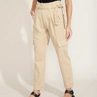 calça de sarja feminina clochard cargo cintura super alta com faixa para amarrar bege claro