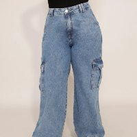 calça pantalona cargo jeans cintura média baw clothing azul médio