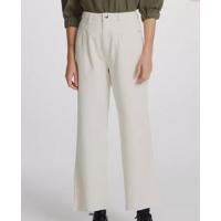 Calça Pantalona Feminina Em Sarja De Algodão - Off White