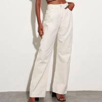 calça reta loose de sarja cintura super alta mindset off white