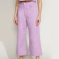 calça de sarja feminina mindset pantacourt cintura super alta lilás