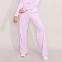 calça reta de moletom com bolsos cintura alta mindset lilás
