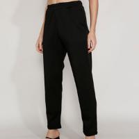 calça feminina mindset reta cintura alta com elástico e bolsos preta