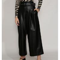 calça feminina mindset pantalona cintura alta com cinto preta