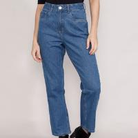 calça jeans feminina mindset reta paris cintura alta azul médio