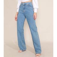 calça jeans feminina mindset reta loose copenhagen cintura super alta azul claro