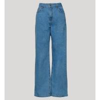 calça reta loose jeans com bordado \