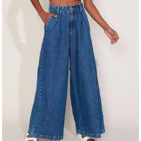 calça jeans feminina mindset wide pantalona cintura super alta com pregas azul médio