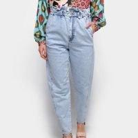 Calça Jeans Semi Baggy Farm Reform Cintura Alta Feminina - Azul