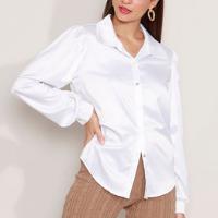 camisa acetinada manga bufante mindset branca