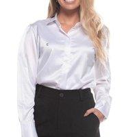 Camisa Botão Clássica Feminina Cetim Toque de Seda - Branco