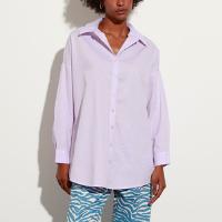camisa oversized de algodão manga longa mindset lilás