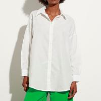 camisa oversized de algodão manga longa mindset off white