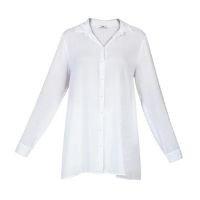 bonprix - Camisa Social Fluída com Pérolas Branca