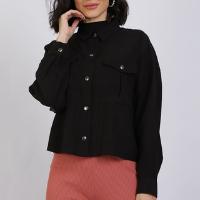 camisa feminina manga longa com botões de pressão preta