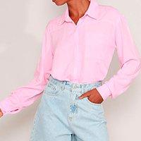 camisa de viscose com bolso manga longa mindset rosa claro