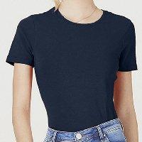 Camiseta Feminina Básica Em Algodão - Azul Escuro