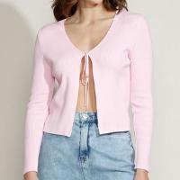 cardigan de tricô feminino mindset com amarração decote redondo rosa claro