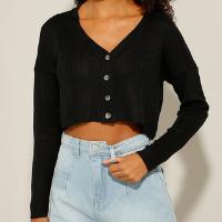 cardigan cropped de tricô canelado preto