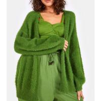 casaco tricot mangas bufantes pelinhos