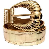 Cinto de Couro Croco Dourado Suave com fivela e ponteira Feminino - Dourado