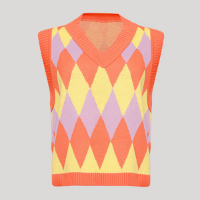 colete de tricô feminino mindset estampado de losangos decote v laranja