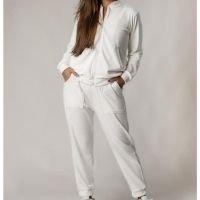 Conjunto Plush Comfy Jaqueta Mais Calça Branco - Branco