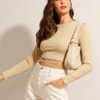 blusa cropped canelada com vazado e amarração manga longa decote redondo kaki