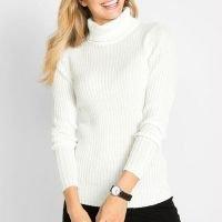 bonprix - Suéter de Tricô com Gola Alta Branca