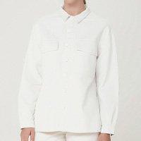 Camisa Feminina Oversized Manga Longa Em Sarja De Algodão - Off White