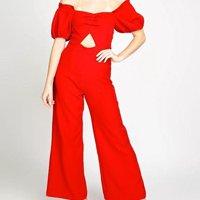 Macacão Longo Pantalona Vértice Feminino - Vermelho