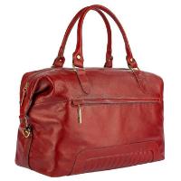 Mala de bordo feminina em couro Firenze - Vermelho