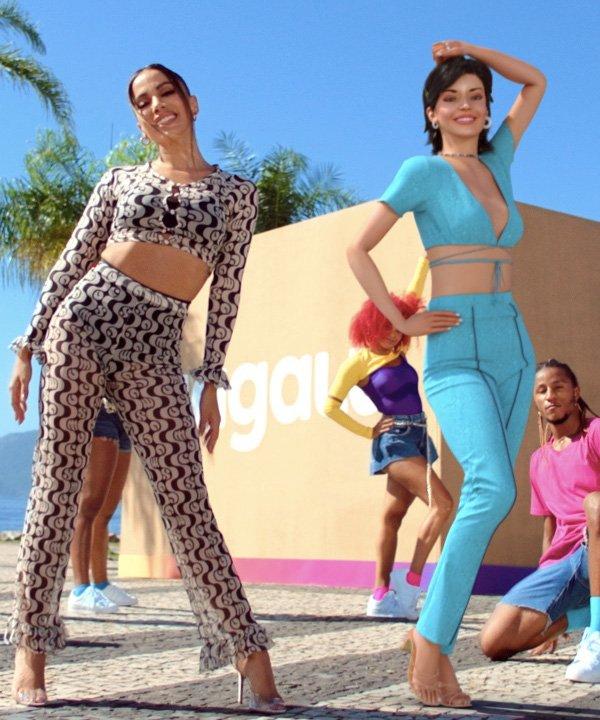 Anitta e Lu no clipe do Magalu - marca brasileira - cosmo - outono - street style - https://stealthelook.com.br