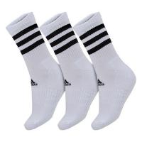 Meia Adidas Cano Alto Listras Branca e Preta - Pack com 03 Unidades - 41 ao 43 - Branco Perolado
